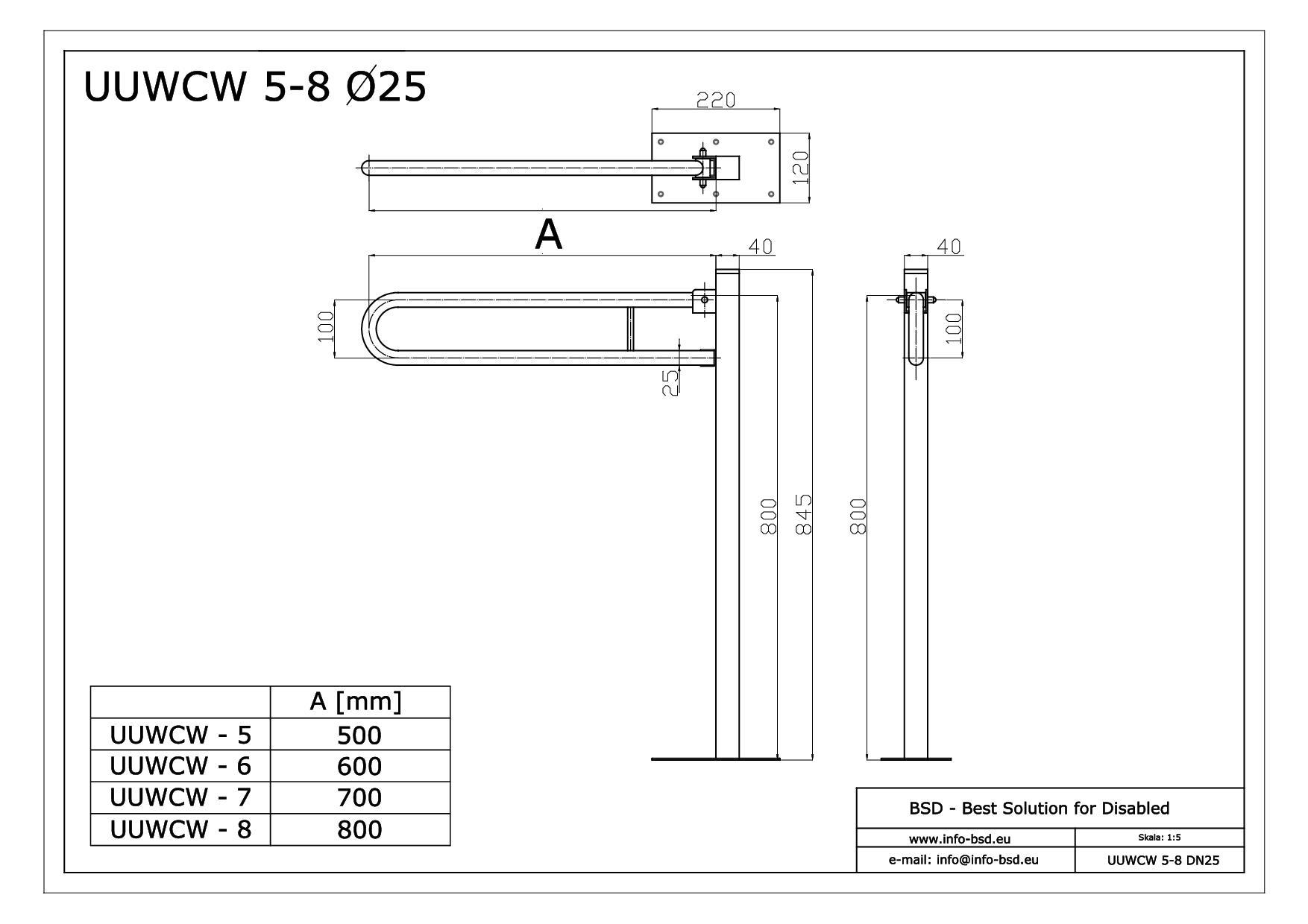 Poręcz Umywalkowa Wc łukowa Uchylna Wolnostojąca 50cm 85cm